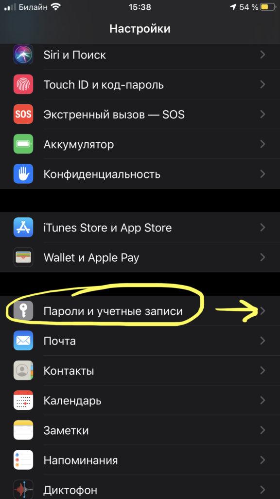 Заходим в пункт «Пароли и учетные записи», чтобы настроить почту Яндекс на iPhone.