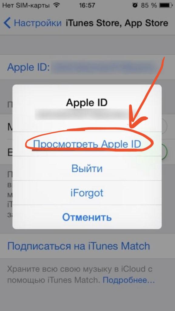 Жмём «Просмотреть Apple ID» для смены языка Апп Стор