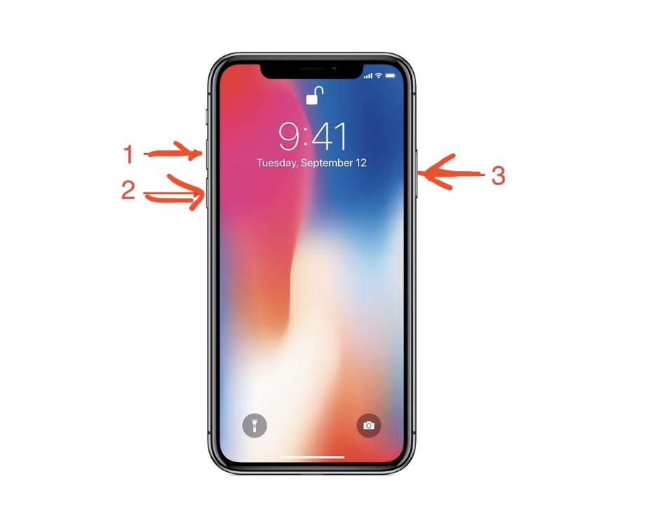 Начиная с iPhone 8, выполняем принудительную перезагрузку с помощью трёх кнопок