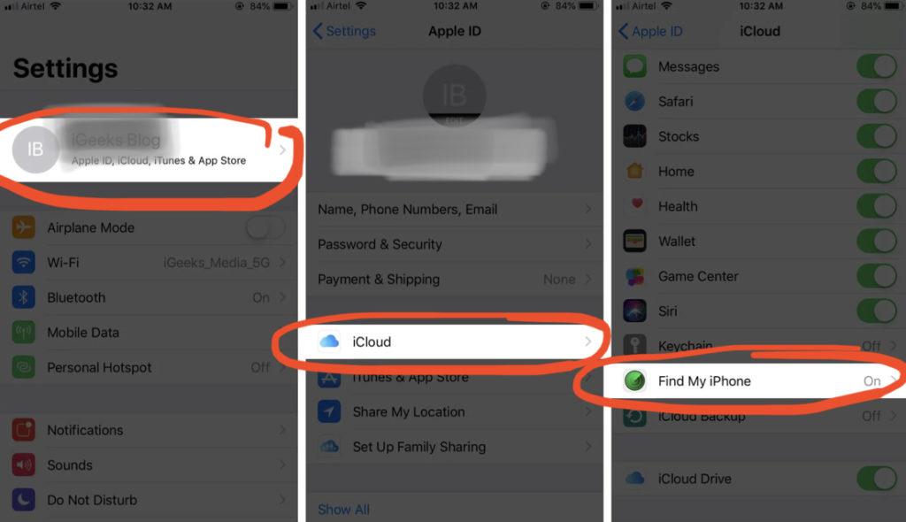 Выбираем в Настройках «iCloud», затем в разделе «Найти iPhone» выключаем эту опцию
